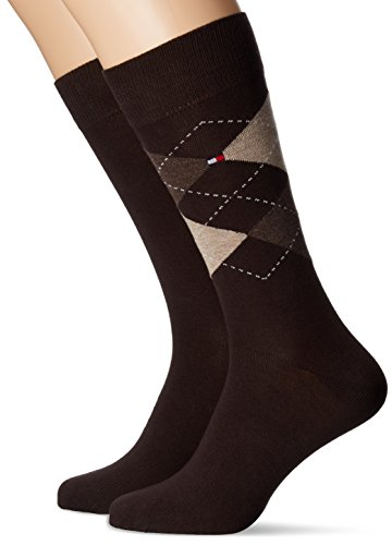 Tommy Hilfiger Herren TH MEN CHECK 2P Socken, Braun (Kensington Brown 937), 47-50 (2er Pack)
