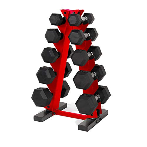CAP Barbell 150-Pound Dumbbell Set with Vertical Rack, Red (SDRS-150R-12BISRD)
