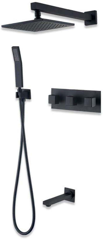 GWX Duschsystem-Set, Grüncktes Duschbad mit heiem und kaltem Wasser, modernes schwarzes Finish für Badezimmer und Duschraum