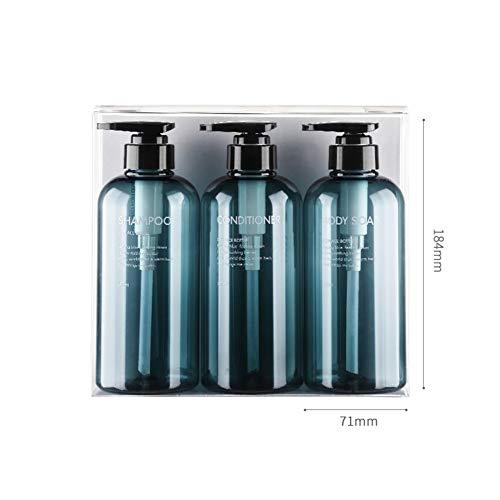 3 STÜCKE Nachfüllbare Leere Kunststoff Pumpflaschen Mit Schwarz Pump Top Shampoo Duschgel Gläser Vorratsbehälter Spender für Make-Up Kosmetische Körperpflege Flüssigkeit