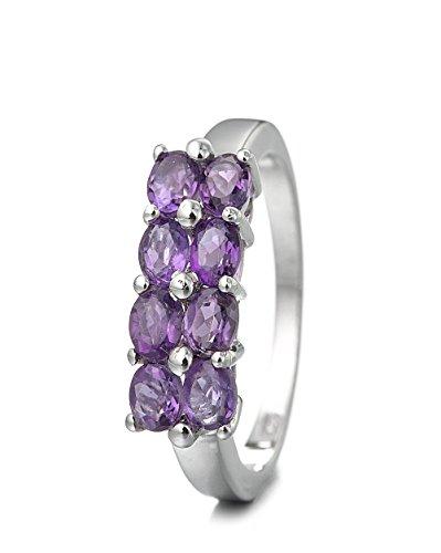 Silvancé - Anello da Donna - argento sterling 925 placcati al rodio - vera gemma: Ametista - R883A_SSR_18