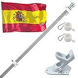 150cm Kit de Asta de Bandera de Aluminio con Soporte Asta de Bandera de Acero Inoxidable, kit de Barra de Bandera de Montaje en Pared Exterior con Anillos Giratorios, Incluye Bandera Española