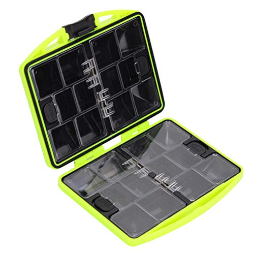 Abaodam Fishing Compartment Organizer WaterproPortable Fishing Tool Storage Box Fishing Tackle Box with 24 Cases (Green)
