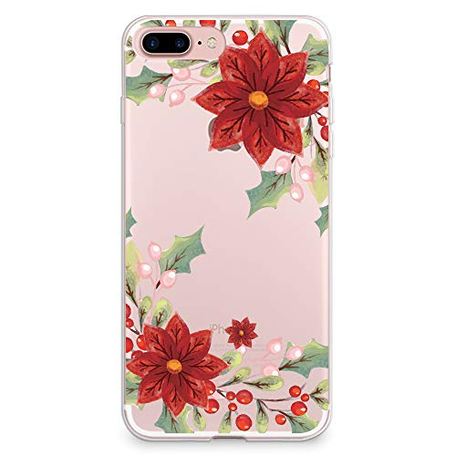 CasesByLorraine Funda para iPhone 7 Plus/iPhone 8 Plus, diseño de flores navideñas rojas, transparente, flexible, TPU suave, gel protector para Apple iPhone 7/8 Plus (A108)