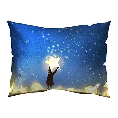 Hunpta @ Kissenbezug 30x50 cm - Kissenhüllen Nacht und Licht Karikatur Kopfkissenbezug für Wohnzimmer Schlafzimmer Kinderzimmer Sofa Dekor Home Dekorative Zierkissenbezüge mit Reißverschlüsse