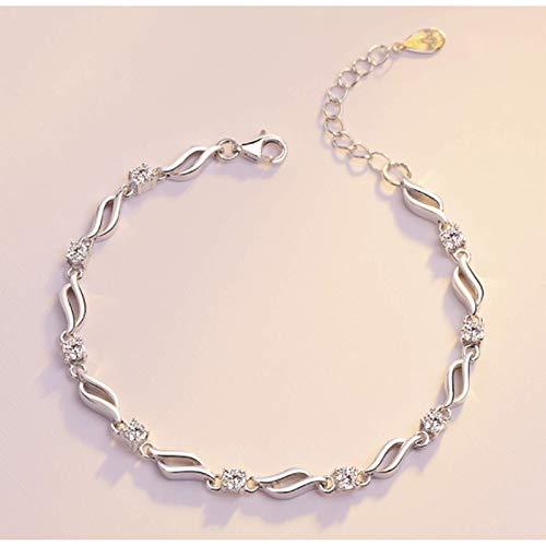 Entplg Diseño de Pulsera de Cristal de Plata Pura, cumpleaños, Regalo de San Valentín para Mujer, Novia, Novia, Pulsera, Pulsera