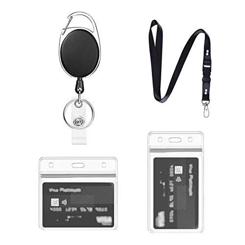 Porte Badge Avec Porte Carte Transparent, 1 Ensemble Comprend - Cordon, porte Badge Enrouleur et Porte Carte étanche, pour Porte Clé D'Identité (Noir - A01)