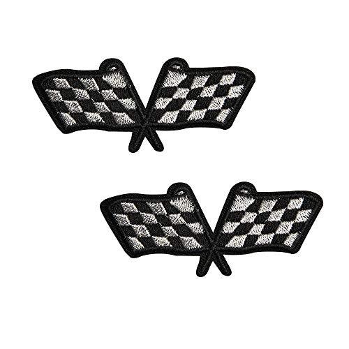 Acxico 2 Stück Racing Flags Schachbrettmuster Aufnäher Bügelbild Aufbügler Stickerei Applikation