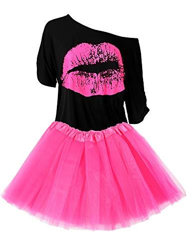 Damen 80er Jahre Kostüm Accessoires Set, Lippen Print T-Shirt Fashion Adult Tutu Rock Madonna Cross Halskette (XXL)
