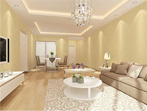 Vliestapete Einfarbig 3D 0.53 x 9.5 m - hellgold Tapete Wohnzimmer Schlafzimmer Restaurant Fernseher Sofa Hintergrund Wand Hintergrundbild