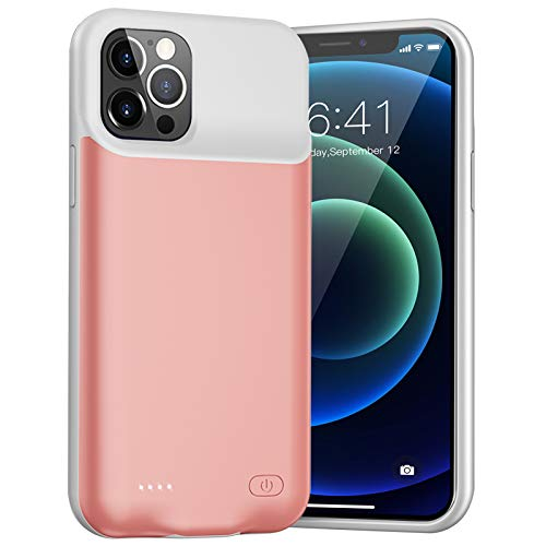 Battery Case for iPhone 12/12 Pro, Enhanced 7000mAh Rechargeable Portable Charging Case for iPhone 12/12 Pro (6.1 inch) Extended Battery Pack Protective Charger Case (Rose Gold)
