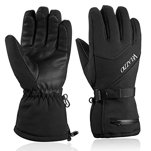 Ski Gloves - VELAZZIO Waterproof Breathable Snowboard Gloves, 3M Thinsulate Insulated Warm Winter Snow Gloves, Fits both Men & Women (S)