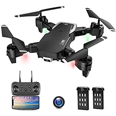 Drone with Camera, Foldable Drone for Beginners, 1080P HD Camera WiFi FPV, 30 Minutes Flight Time(2 Batteries), Altitude Hold, Headless Mode, APP Control, One Key Return, 3D Flip, Best Drone for Kids