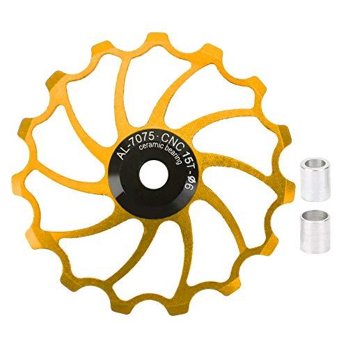 Rueda guía de bicicleta, polea de cambio trasera ligera de alta lubricidad resistente al desgaste con 2 accesorios para bicicletas para bicicletas de montaña(Golden)