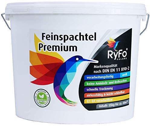 RyFo Colors Feinspachtel Premium 25kg (Größe wählbar) - Allzweckspachtelmasse Instant Spachtel Füllspachtel weiß Super-Finish