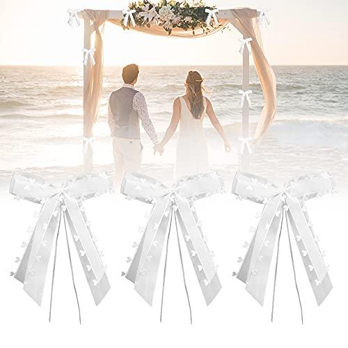 BUENTYA 30 PCS Schleifen Weiß Hochzeit Autoschleifen Antennenschleifen mit Herzen Vintage Autoschleifen Hochzeit Deko Weiß Satinband Handgemacht Schleifen Hochzeitsschmuck Auto Schleifen (20*10CM)