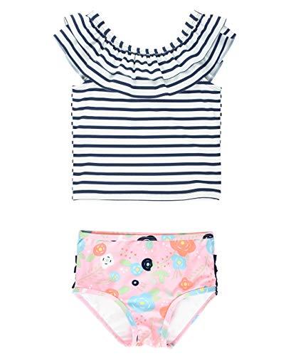 RuffleButts Baby/Toddler Girls Bouncing Blooms Stripe Ruffled Tankini - 18-24m
