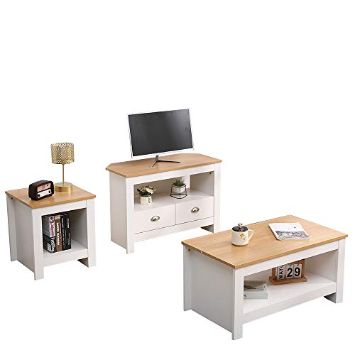 CF Furniture Living Room 3 Piece Set Lamp Table Coffee Table TV Stand Modern Simple Practical White+Oak