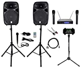 Rockville Dual 15' iphone/ipad/Android/Laptop/Tablet Pro Karaoke Machine/System