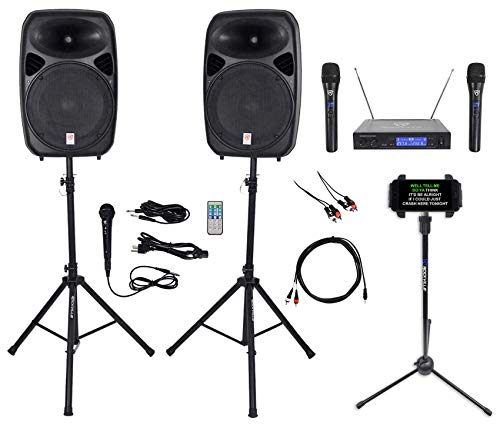 Find Discount Rockville Dual 15 iphone/ipad/Android/Laptop/Tablet Pro Karaoke Machine/System