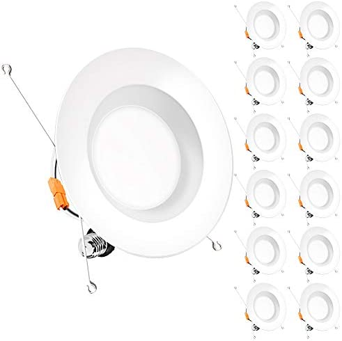 Bbounder 12 pack 5 6 inch LED Dimmable Recessed Lighting Retrofit Downlight with Smooth Trim product image