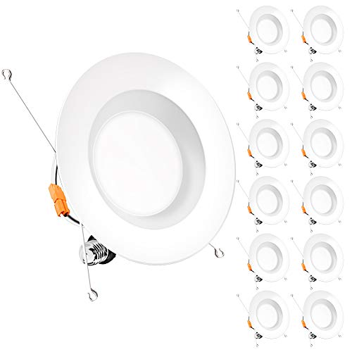 Bbounder (12 Pack) 5/6 inch LED Dimmable Recessed Lighting, Retrofit Downlight with Smooth Trim, 5000K Daylight, 12W=100W, 1000LM, Simple Retrofit Installation, IC Rated No Flicker, Energy Star & ETL