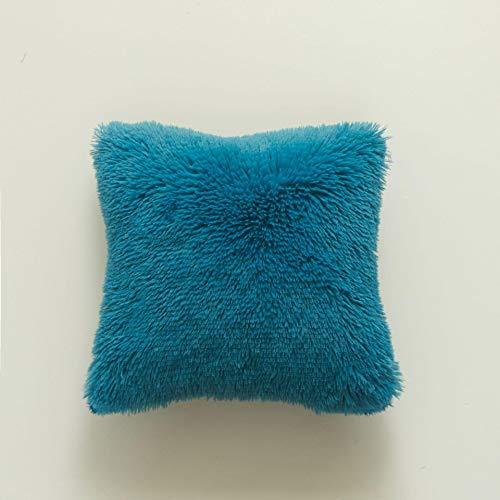 YANYANS Plush Pillowcase Crystal Long Plush Sea Lion Pillow Soft Comfortable Solid Creative Cushion Cover4 Pieces 43 * 43cm Seablue