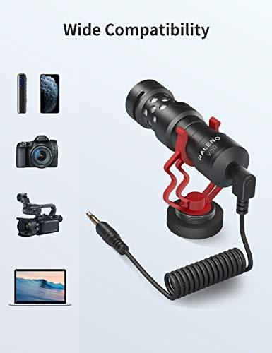 Universelles Videomikrofon mit Stoßdämpferhalterung, Deadcat-Windschutzscheibe, Hülle für iPhone, Android-Smartphones, Canon EOS, Nikon DSLR-Kameras und Camcorder-Perfektes Kameramikrofon von RALENO