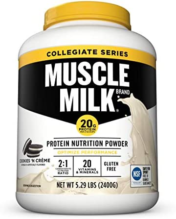 Muscle Milk Collegiate Protein Powder Cookies N Cr me 20g Protein 5 29 Pound product image