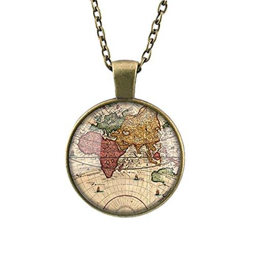 DELEY Vintage Lungo Bronzo Catena Mappa del Mondo di Vetro Cabochon Cupola Gioiello Ciondolo Collana Colore B
