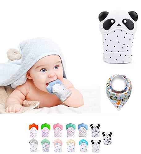 Funky Planet Baby dentición Manoplas, Protege Manos Bebés, Pain Relief Tranquilizadora de Edad + BUFANDAS (Dots)