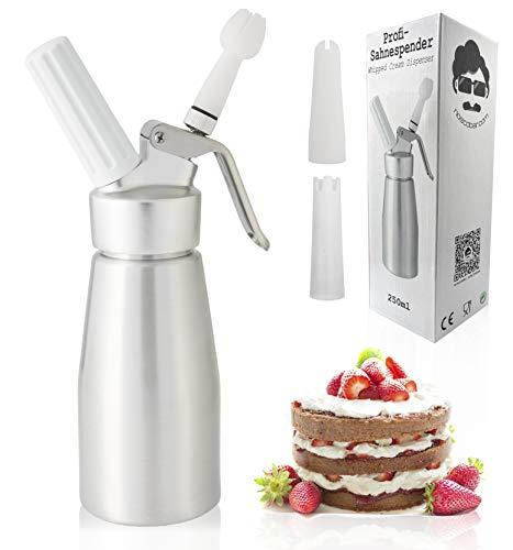 noscobar Sahnespender | Schlagsahne und Cremes für Desserts und Gebäck | Profi-Küchenhelfer | inklusive 3 Deko-Tüllen… (250ml)