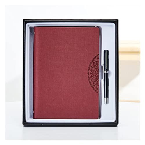 ZANZAN Cuadernos de Notas Cuaderno De Hojas Sueltas A5 Bloc De Notas Chino Retro con Marcador Diario Multifuncional Portátil Set Creativo Regalo blocs de Notas (Color : Wine Red)