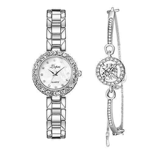 Geschenkset, Damenuhr Rosegold Glänzender Armreif, Armbanduhr Schmuck Set, Damen Uhren Analog Quarz Legierung, Business Quarzuhr+ Perlmutt StrassArmband, Casual Armbanduhr Geschenk für Frauen (B)