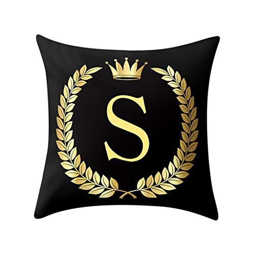 Cocila Kissenbezug Schwarz und Gold Buchstaben Einfache Mode Weiche Kissenhülle Sofa Kissenbezug für Auto Cafe Home Decor 45 cm x 45 cm, Polyester, S, 45 x 45 cm