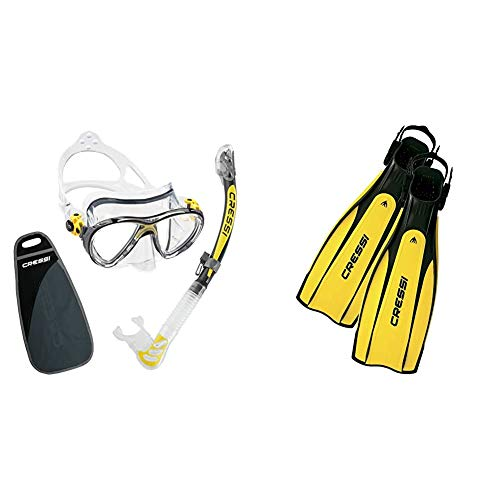Cressi Big Eyes Evolution & Kappa Ultra Dry Schnorchel - Pack de Snorkel (Tubo y Gafas), Color Amarillo + Pro Light Aletas, Unisex, Negro/Amarillo, M/L