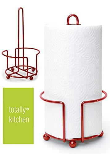 Totally Kitchen Paper Towel Holder   Simple Tear Standing Paper Towel Dispenser   Heavy Duty Metal Construction   Fits Rolls   Red