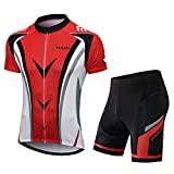 FEIXIANG Men's Cycling Jersey Set, Bike Short Sleeve Kit Breathable Bicycle Shirts+4D Padded Shorts Road Biking MTB Clothing Outfits Red
