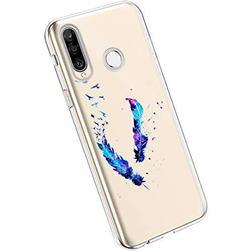 Ysimee Compatible avec Huawei P30 Lite Coque en Silicone Transparente avec Design Colorés Imprimés Motif Etui Ultra Mince et Léger Souple Housse Flexible Hybrid Crystal Clair TPU Bumper Cover,Plume