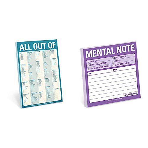Knock Knock All Out Of Pad Grocery List Note Pad, 6 x 9-inches (Blue) & 1-Count Knock Knock Mental Note Sticky Notes, To Do List Notepads, 3 x 3-inches each