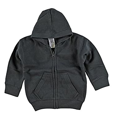Kiddy Kats Baby Hooded Sweatshirt Cotton Full Zipper Infant Hoodie with Kangaroo Muff Pockets Charcoal, 6 Months