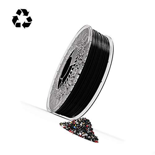 Filamento Reciflex TPU flexible 100% de origen reciclado para impresoras 3D muy fácil de imprimir con una dureza shore entre 96A y 98A (1.75 mm 750 gr, Negro)