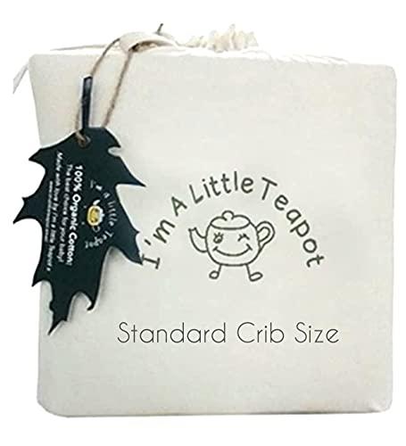 I'm A Little Teapot Organic Cotton Crib Mattress Pad - Standard Size Organic Crib Mattress Protector...