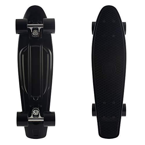 Retrospec Quip Skateboard 22.5  Classic Plastic Mini Cruiser Complete Skateboard w ABEC 7 Bearings, Black (3375)