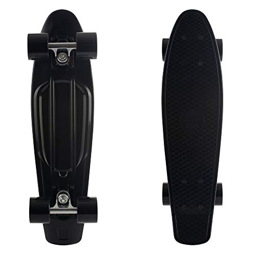 "Retrospec Quip Skateboard 22.5"" Classic Plastic Mini Cruiser Complete Skateboard w/ABEC 7 Bearings, Black (3375)"