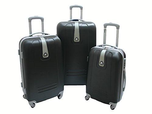 JustGlam - Set 3 Trolley 1305, valige rigide in ABS policarbonato, bagaglio piccolo da cabina, chiusura con lucchetto / Nero