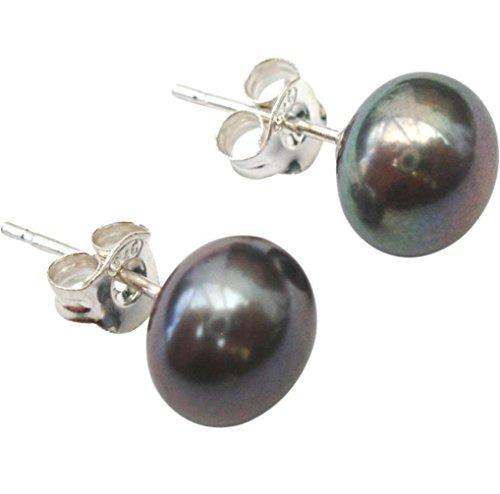 Pendientes de perla cultivada de agua dulce, color pavo real/berenjena (negra) de 7mm, de pin y mariposa de plata (925)
