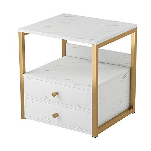 Mesa de Centro de Muebles Moderna Rectangular de Madera de Noche Lado del Extremo del café Mesa Decorativa Mueble con cajón Cocina Viva (Color : Blanco, Size : 45x34x50cm)