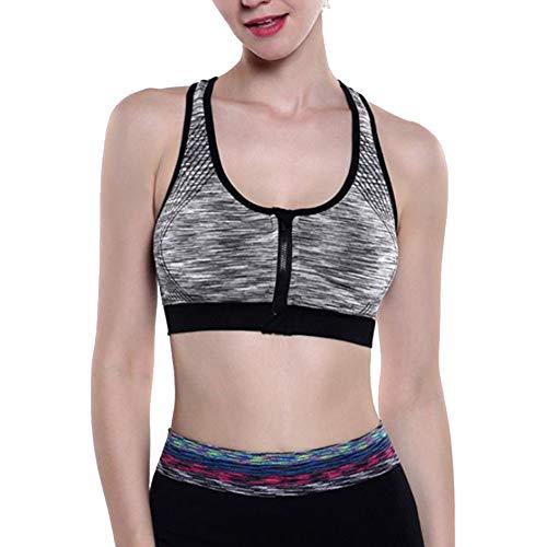 Mengmiao Damen Sport BH Yoga Fitness Unterwäsche Ohne Bügel Front-Reißverschluss Push Up Bustier Grau XL