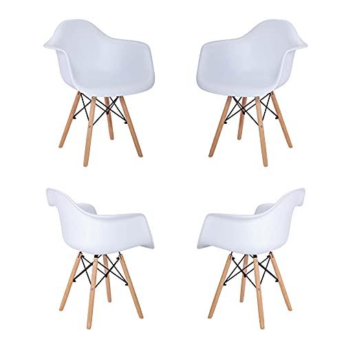 GrandCA HOME Pack de 4 Sillas Nordicas,Butaca Estilo Nórdico Sillas Comedor Salón Oficina Cocina,Recepción Silla (White)